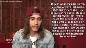 ... music, pierce the veil, ptv, quotes, self harm, support, vic fuentes