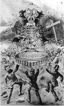 An anti-Mormon political cartoon from the late 19th century.