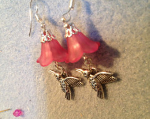 Handmade Hummingbird Earrings with Pink Flowers Crystal and Glass ...