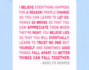 Everything Happens for a Reason Quo te Print Marilyn Monroe Print ...