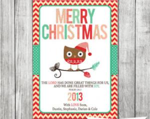 Owl Christmas Card - Christmas Bibl e Verse - Scripture Christmas Card ...