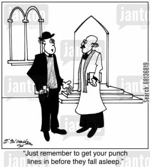 congregation cartoon humor: 'Just remember to get your punch lines in ...