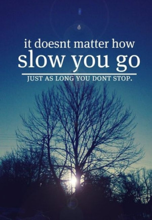 It Doesn't Matter How Slow You Go Just As Long You Don't Stop ...