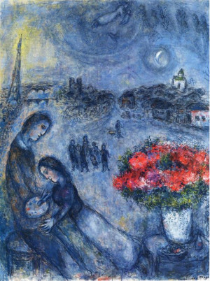 Marc Chagall: Newlywed with Paris in the background1980