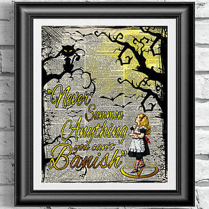 ... DICTIONARY-BOOK-PAGE-Gothic-Alice-in-Wonderland-Cat-Magic-Spell-Quote