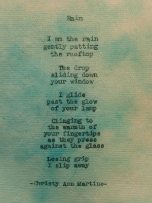 Rain Poem on Multicolored Cotton Paper Typewriter poetry by Christy ...