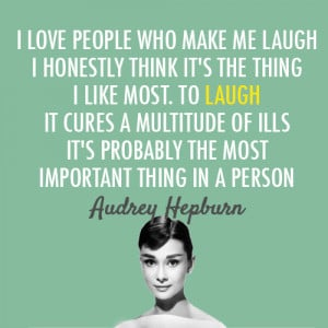 ... for this image include: audrey hepburn, laugh, quote, love and people