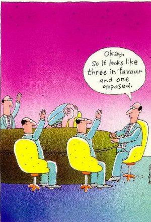 Staff meeting vote - Funny cartoon of a staff meeting.