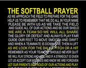 The Softball Prayer personalized 11 X 14