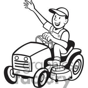 Clipart Black And White Man On A Riding Lawn Mower - Royalty Free ...