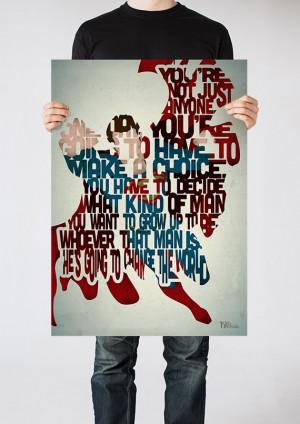 Superman Man Of Steel Quotes Superman typography art print