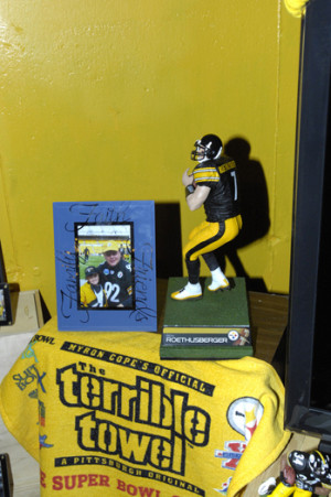 Some of the Steeeler memorabilia in Mike Hanes' basement.