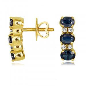 Blue Sapphire diamond Earring in 14k yellow gold