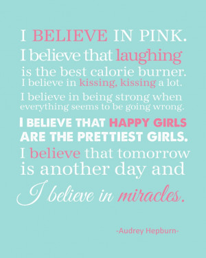 Believe+in+Pink+11x14+Print+Audrey+Hepburn+by+TheEducatedOwl,+$9.00