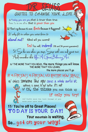 Dr Seuss - Quotes to Change Your Life Print by Georgia Fowler