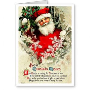 Santa Christmas Quote - Vintage Merry Xmas Cards