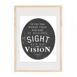 Sight But No Vision - Quote by Helen Keller 8x10 Art Print