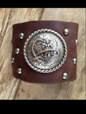 Sassy Ropin' Cowgirl Studded Leather Cuff