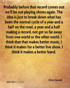 Chris Cornell - Probably before that record comes out we'll be out ...