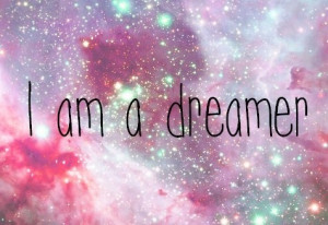 dreamer, galaxy, girl, pink, quote