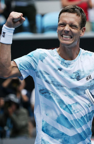 Tomas Berdych on Margaret Court Arena. Thomas Berdych wins in straight ...