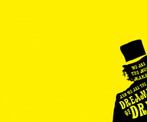 ... wonka dreams hats minimalistic quotes yellow background HD Wallpaper