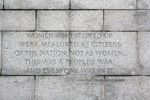 quote on one of the walls of the World War II Monument that I ...