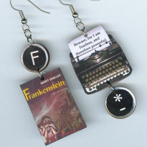 Frankenstein Earrings Mary Shelley quote vintage Typewriter