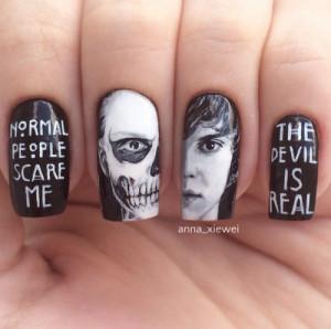 alternative, art, nails, quotes, skull, ailpoolish
