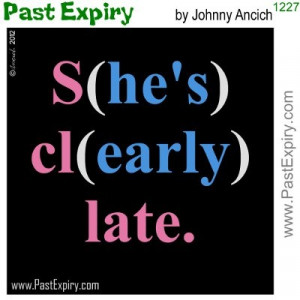 funny gag cartoon about women being late