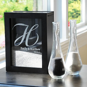 Unity Sand Ceremony Shadow Box with Side Vases