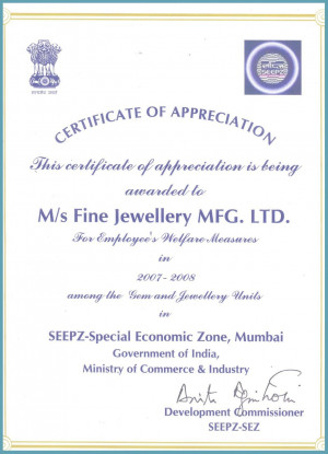 Awarded Certificate of Appreciation for employee's welfare measures ...