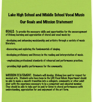Lake High School and Middle School Vocal MusicOur Goals and Mission ...