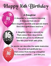 ... Magnet - Pers onalised - Daughter Poem - 16th Birthday + FREE GIFT BOX