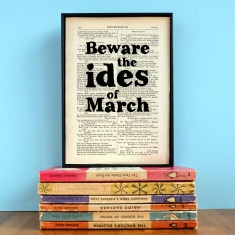 Shakespeare beware the ides of march quote print