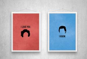 Star Wars Poster, Movie Print, Han Solo, Princess Leia, Movie Quote ...
