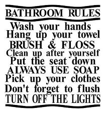 ... rules wash hand brush floss soap home wall decor decal sticker quote