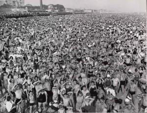 "Coney Island Beach"" by Weegee, gelatin silver print, 20.6 x 25.4 cm ..."