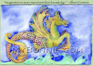 SEAHORSE Painting Albert Einstein Quote 15x11 Signed Art by Bonnie ...