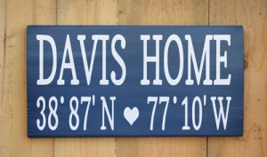 Personalized Family Name Home Longitude Latitude Wood Sign Painted ...