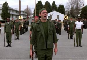 Description: Bill Murray as Pvt. John Winger addresses a group of US ...