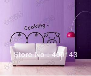Cute Pig Cartoon Removable Vinyl Wall Art Sticker DIY 3D House Bedroom ...
