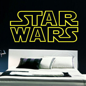 VINYL GIANT STAR WARS STARWARS LOGO QUOTES BEDROOM WALL STENCIL ...