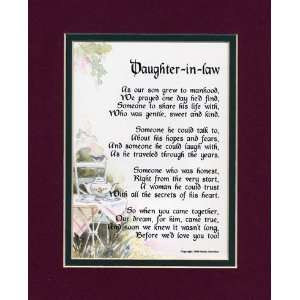 Gift For A Daughter in law. Touching 8x10 Poem, Double