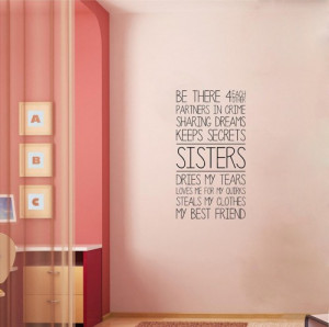 Sisters vinyl lettering home wall decal decor art quote