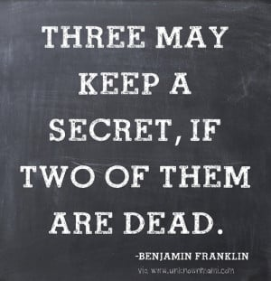 Are you good at keeping secrets? I am and I'm not. If the secret is ...