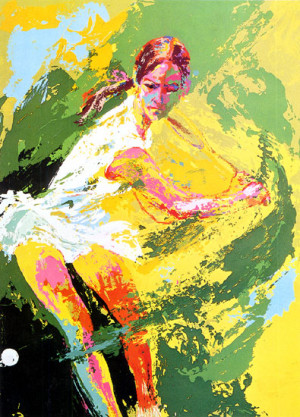 leroy neiman nieman serigraph back hand backhand chris evert tennis ...
