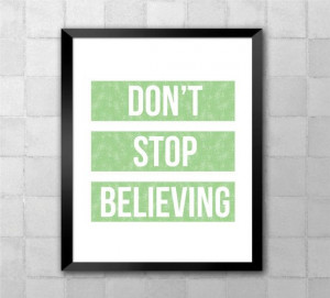 Journey Glee Don't Stop Believing Song Lyric Quote by LyricWall, $9.62