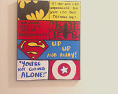 Custom Order Canvas Wall Art: Kids Superhero Quotes, Comic Book Style ...