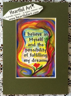 believe in myself quote (5x7) - Heartful Art by Raphaella Vaisseau